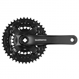 VOLANTE SHIMANO FC-TY501 FOR REAR 6/7/8-SPEED, 170MM, 48X38X28T W/O CG, W/CRANK FIXING BOLT, BLACK,